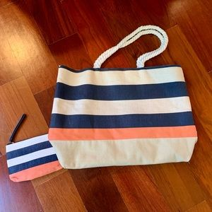 Navy, White and Peach Tote w/ Matching Wristlet